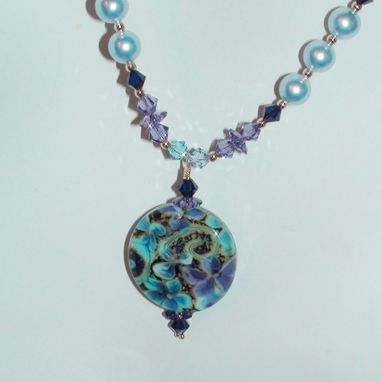 Custom Made Purple, Baby Blue & Aqua Lampwork Glass With Swarovski Crystals And Pearls