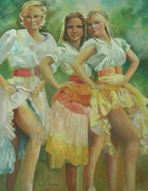 Custom Made Portrait Painting Of Dancing Girls With  Western Clothing In Oil On Canvas, 24 X 30