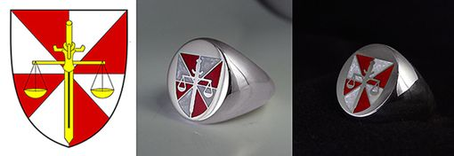 Custom Made Signet Silver Rings. Red, Blue And Pearl White Enamels.