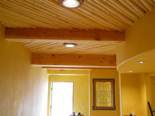 Custom Made Beam And Latilla Ceiling With Cherry Light Trims