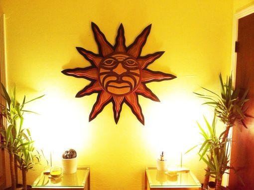 Custom Made Red Wood Crafted Mosaic Tribal Sun
