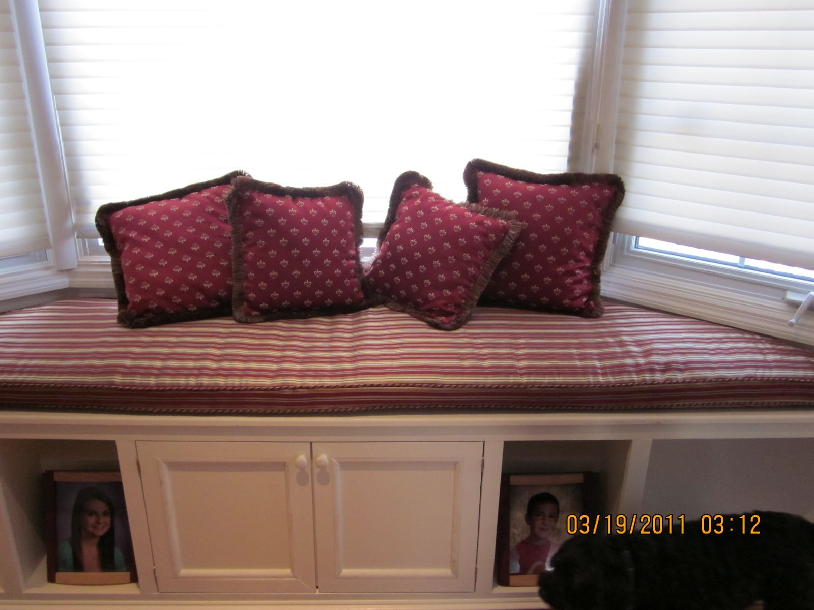 Hand crafted bay window seat cushion with matching pillows for Bay window seat cost uk