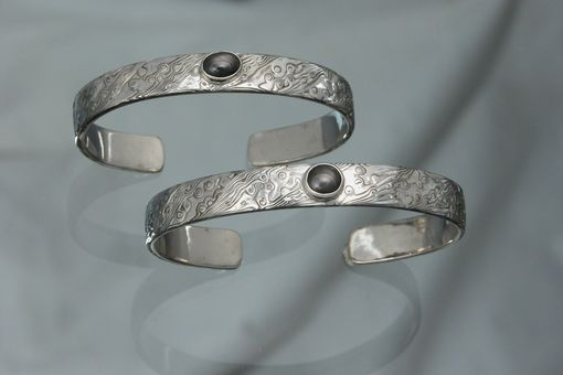 Custom Made 14kt Palladium White Gold With Black Star Sapphire Bracelets