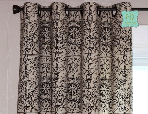 Custom Made Custom Curtain Panels: Lacefield Portico Fretwork In Ink Black Curtains 72l X 50w