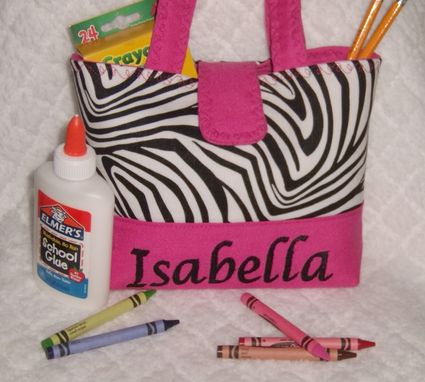 Custom Made Personalize Zebra Yellow Handbag-Little Girls Purse Team