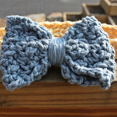 Custom Made Baby Booties Baby Headband Crochet Blue Yellow Cotton Set
