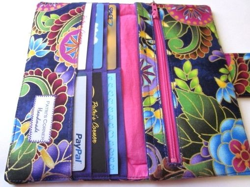 Custom Made Handmade Women Wallet Purple Dream Blue Flower.