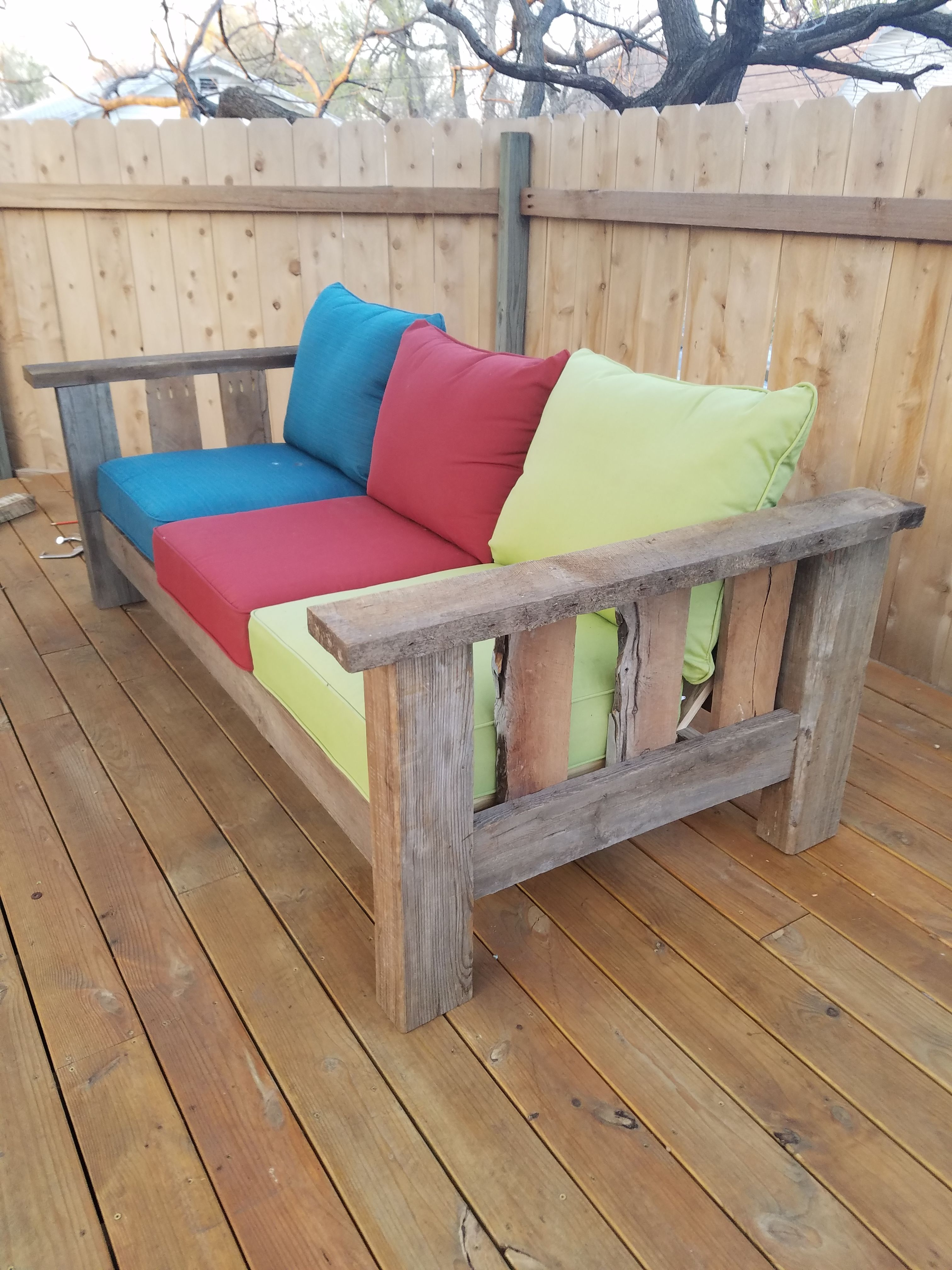Reclaimed Barn Wood Yellow Pine And Osage Orange Outdoor Indoor Couch By Craig