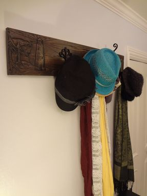 Custom Made Hand Carved Hat Rack