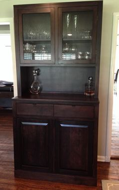 Custom Made Clean Modern Cherry China Cabinet