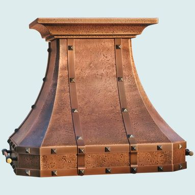 Custom Made Copper Range Hood With Copper Straps & Hammering