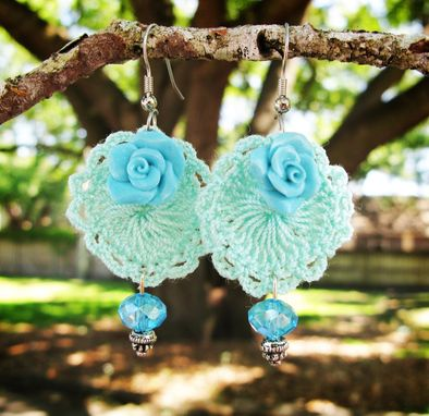 Custom Made Teal - Mini Doilies Lace And Handcrafted Polymer Clay Rose Earrings With Crystals