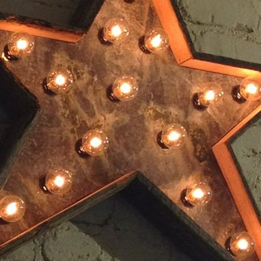 Custom Made Star Light Fixture Metal Sign Reclaimed Barn Wood 24 Inch Diameter