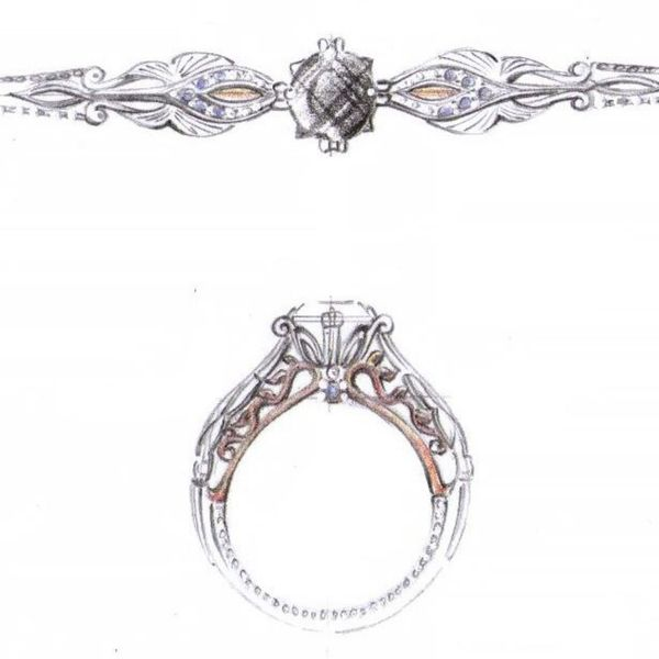 Sketches for a vintage-inspired black diamond engagement ring in a mix of white and rose gold.