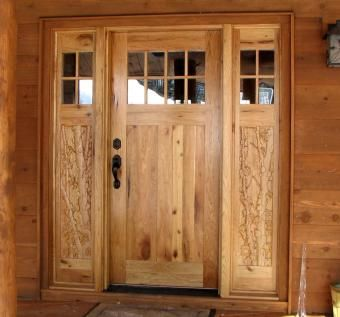 Custom Made Butternut And Birch Custom Carved Entry Door