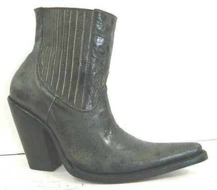 Custom Made Made To Order Distressed Black Leather Ankle Boots With Elastic Side And 5¨ Heels Men Size