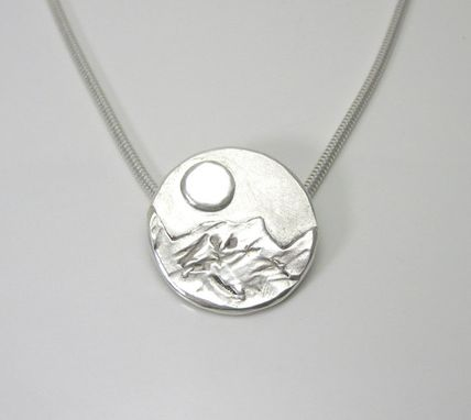 Custom Made Moon Over The Mountains Fine Silver Necklace