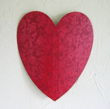 Custom Made Handmade Upcycled Metal Valentine's Heart Wall Decor In Coral Magenta