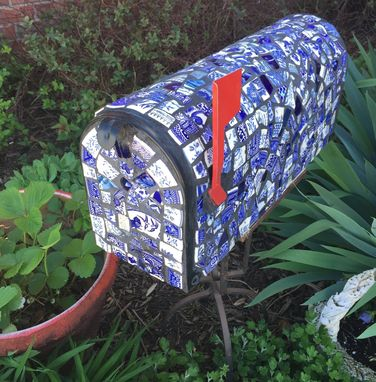 Custom Made Blue Willow Broken China Mosaic Mailbox