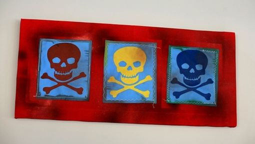 Custom Made Skull And Crossbones Mixed Media On Canvas
