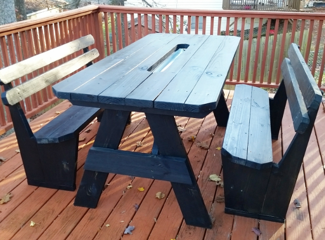 Buy A Custom Ft Picnic Table With Distressed Finish Made To - Picnic table finish