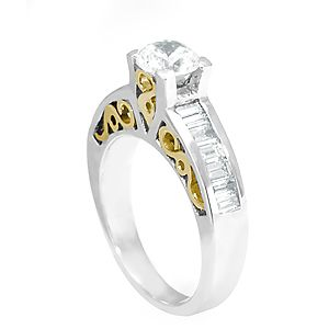 Custom Made Baguette Diamond Engagement Ring In 14k White & Yellow Gold, Proposal Ring, Wedding Ring