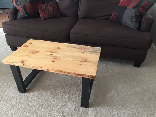 Custom Made Live Edge Beetle Kill Pine Wood Top Coffee Table W/ Steel Frame - Handmade In Denver