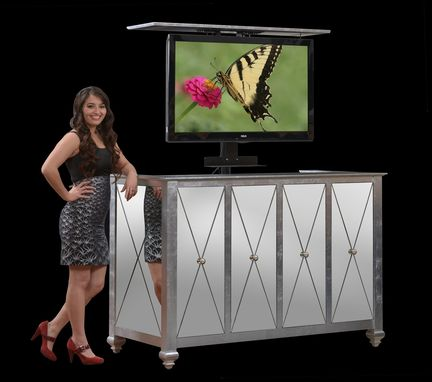 Custom Made Hollywood Glam Tv Lift Cabinet In Silver Leaf And Mirrors Up To 60