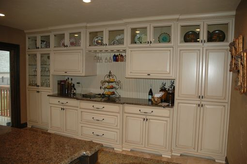 Custom Made Rustic Island With French Country Painted Cabinets