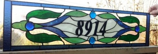 Custom Made Stained Glass Address Marker - Traditional Style (Am-188)