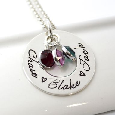 Custom Made Mother's Personalized Jewerly | Hand Stamped Necklace With Children's Names And Birthstones