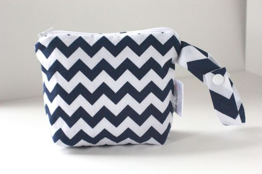 Custom Made Small Gusseted Messy Bags (Snack Bags) - Navy Chevron