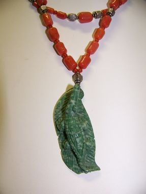 Custom Made Unusual Stunning 2 Strand Necklace Of Mediterranean Red Coral With Green Alligator Pendant