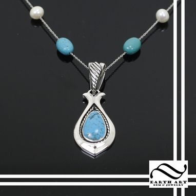 Custom Made Turquoise Pendant With Peal And Turquoise Necklace