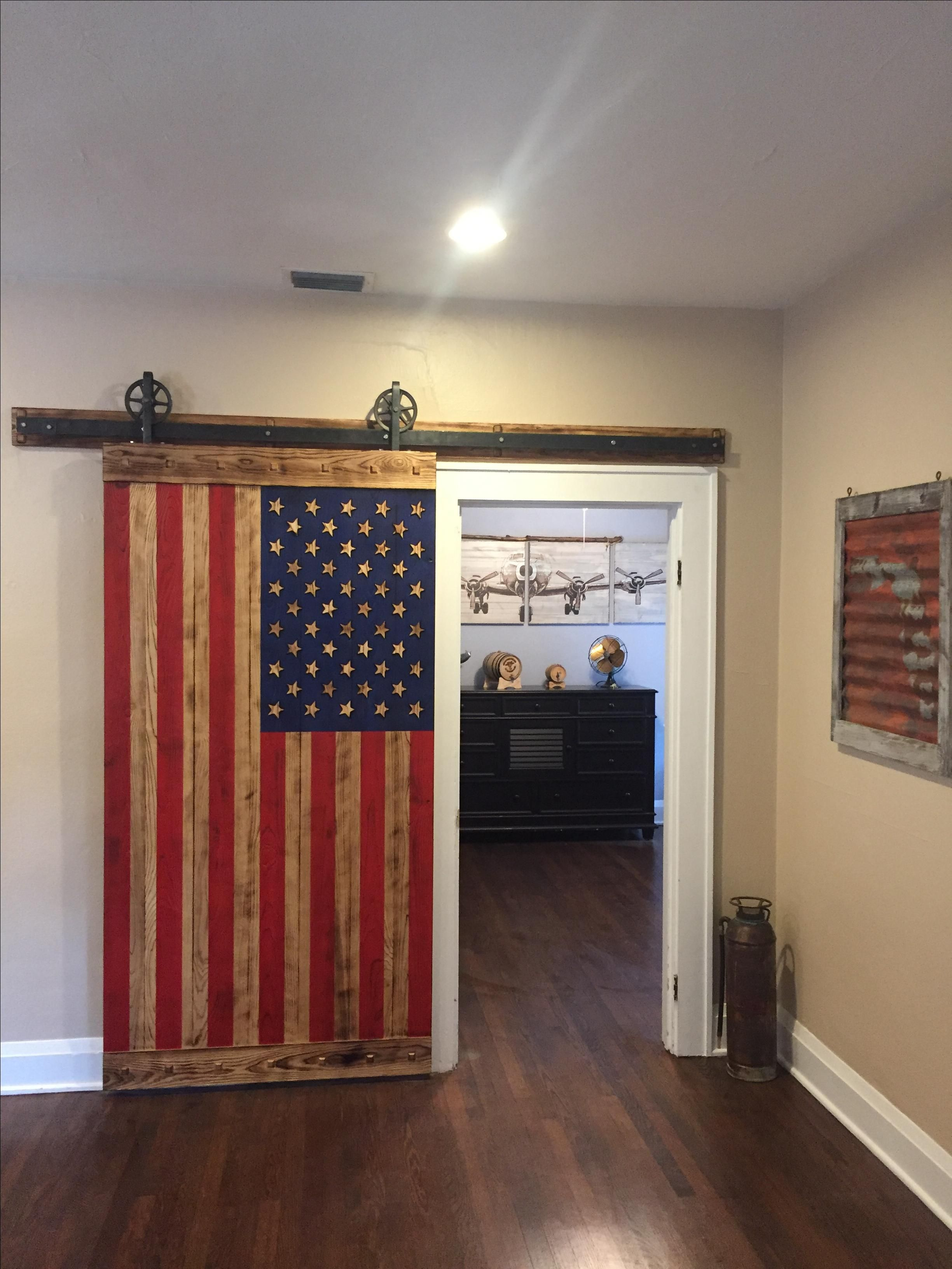 Hand Made American Flag Barn Door By Woodmetalandbeyond