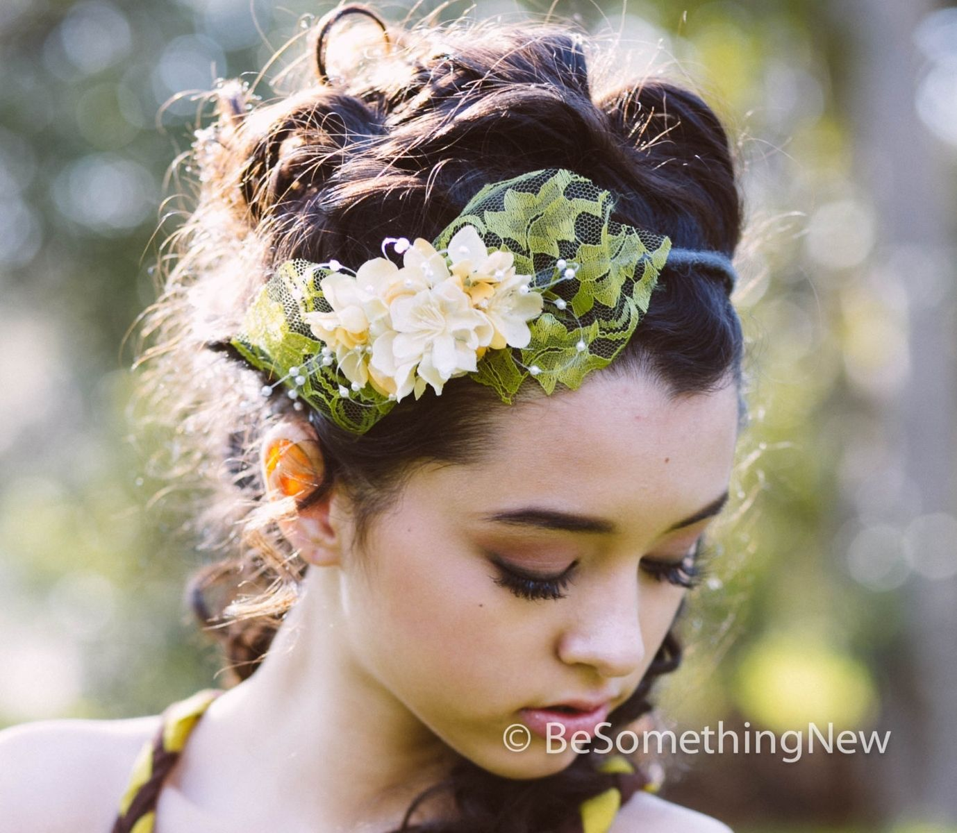 Custom Made Lace And Flowers Spring Headband f5f9e00d626