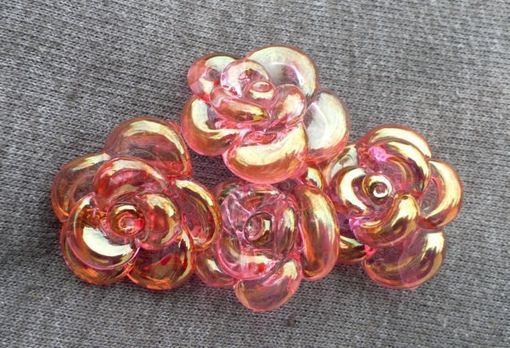 Custom Made Pink Rose Necklace Glass, Hand Blown Lampwork Flower Pendant, Gold Fumed Pink Rose