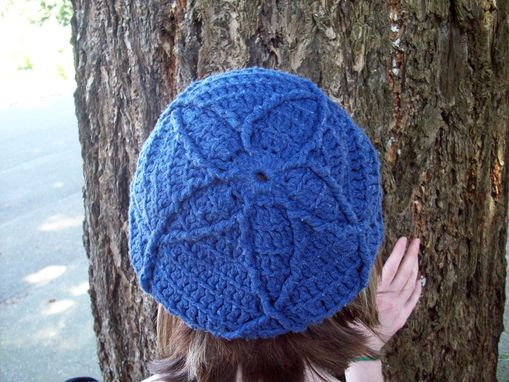 Custom Made Hand-Dyed Navy Blue Crocheted Newsie Cap With A Textured Design