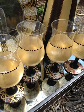 Custom Made Hand Painted Stemware Gold Black Bronze Metallic