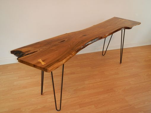 Custom Made Live Edge Black Walnut Console Table With Hairpin Legs