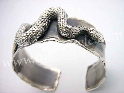 Custom Made Sterling Silver Snake Bracelet Bangle Python Reptile