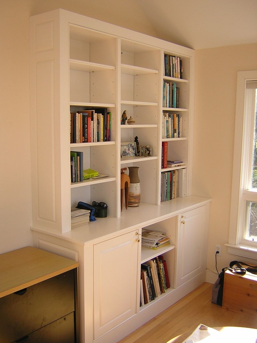 home office in a cupboard.  Office Home Office Cabinet And Bookshelves In A Cupboard