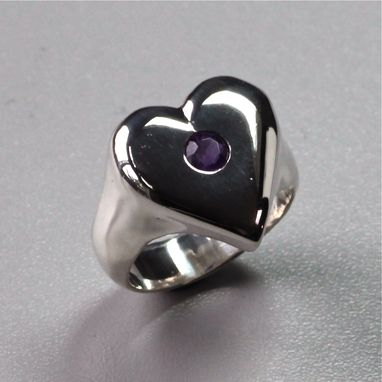 Custom Made Amethyst Heart Ring, Sterling Silver