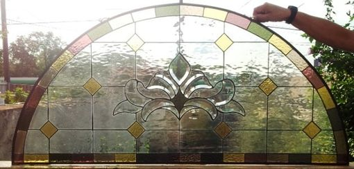 "Custom Made Stained Glass Window/ Hanging Panel-  ""Refined Arch"" (P-22)"