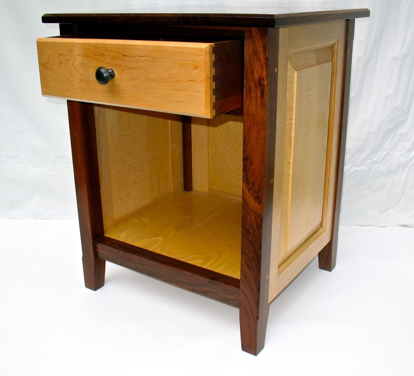 Custom Made Black Walnut And Maple Nightstand With Raised Panels
