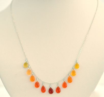 Custom Made Orange Necklace - Orange Chalcedony Gemstone Necklace - Yellow, Orange, Red Gradation