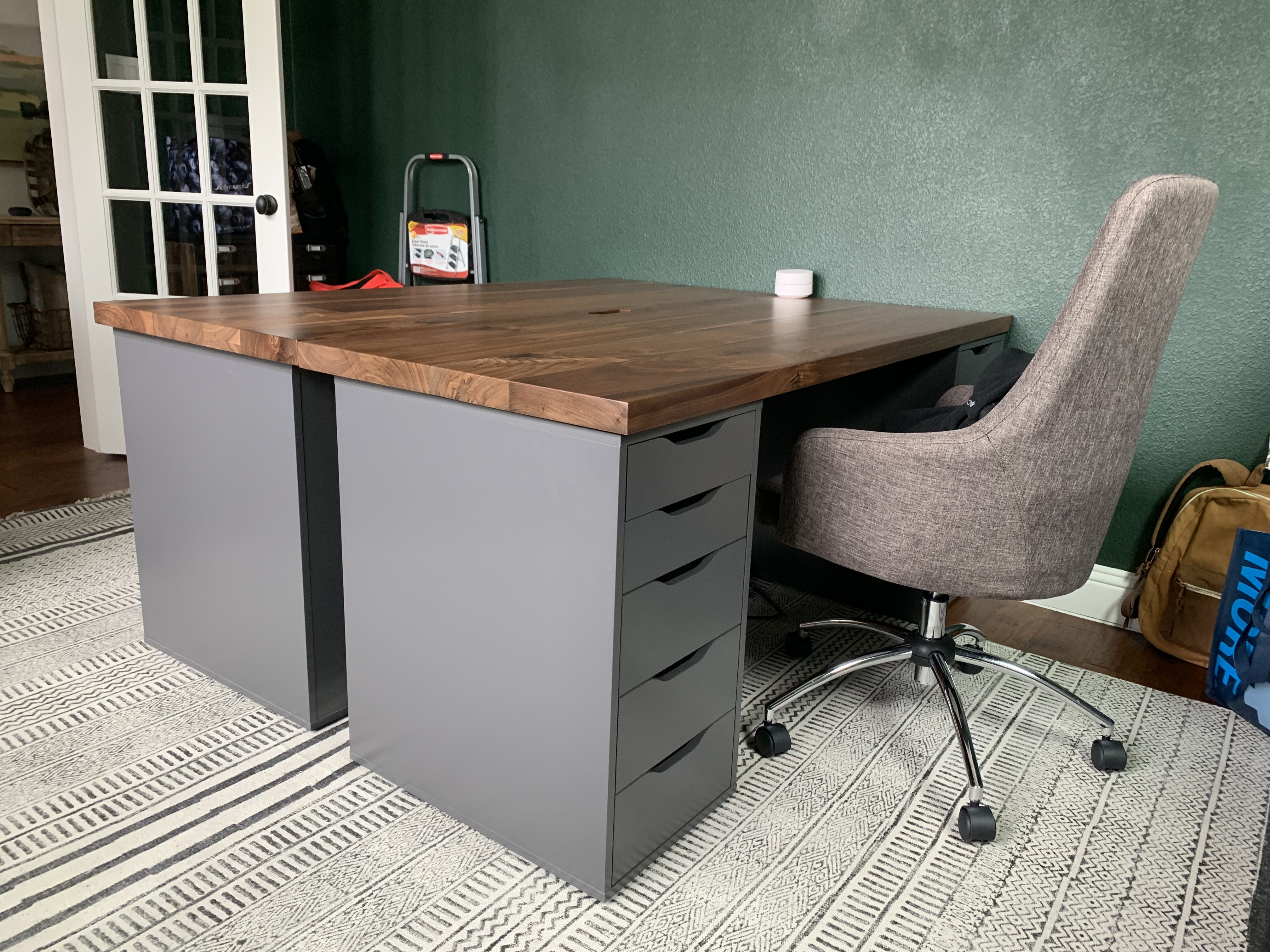 Handmade Walnut Top Desk With Storage Drawers by HH Co Design