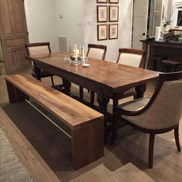 Hand Crafted Handcrafted Modern Walnut Plank Bench For An Accent