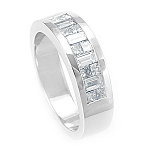 Custom Made Baguette And Princess Cut Diamond Band In 14k White Gold, Wedding Band, Diamond Band
