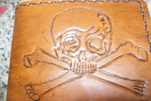 Custom Made Custom Leather Deluxe Wallet With Skull And Bones Design